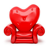 3d red sofa cartoon on heart shape  on white Stock Images