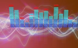 3d red sound wave. 3d illustration of  over red sound wave background Royalty Free Stock Image