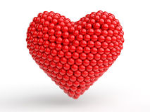 3d red spheres arranged to make a heart shape Stock Photos