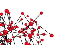 3d red spheres and black lines science structure loopable animation stock video footage
