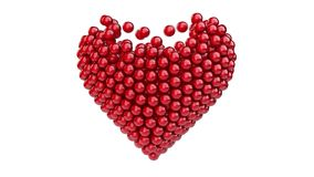 3d red spheres making a heart stock video footage