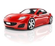3D Red Sport Car on White Background.  Royalty Free Stock Photos