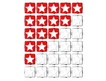 3D Red Stars Rating Button Click Here Block Text. Over white background Royalty Free Stock Photography