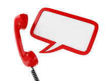 3d red telephone and blank speech bubble. 3d renderer image. Red telephone and blank speech bubble. communication concept.  white background Stock Image