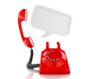 3d red telephone and blank speech bubble. 3d renderer image. Red telephone and blank speech bubble. communication concept.  white background Royalty Free Stock Photo