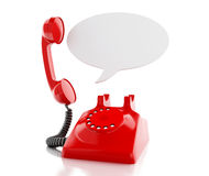 3d red telephone and blank speech bubble. 3d renderer image. Red telephone and blank speech bubble. communication concept.  white background Royalty Free Stock Image