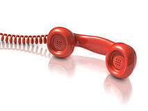 3d Red telephone handset Stock Photography