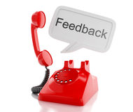 3d red telephone and speech bubble with word feedback. Royalty Free Stock Photography