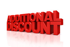 3D red text additional discount Royalty Free Stock Photography