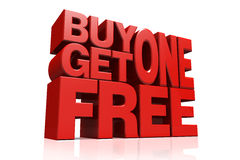 3D red text buy 1 get 1 free. On white background with reflection Royalty Free Stock Photos