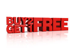 3D red text buy 2 get 1 free. On white background with reflection Stock Photos
