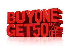 3D red text buy 2 get 50 percent off Stock Image