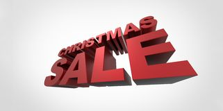 3d red text Christmas sale  on white backg. Round wide angle perspective simple Royalty Free Stock Photos