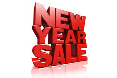 3D red text new year sale. On white background with reflection royalty free illustration