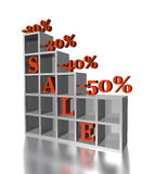 3d red text SALE 20, 30, 40, 50 % Royalty Free Stock Photo