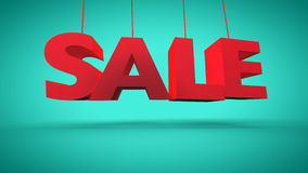 3d red text SALE. On turquoise background Royalty Free Stock Photo