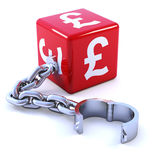 3d Red UK Pound sybol dice with shackle Stock Photos