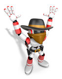 3D Red villain robot with both hands in a gesture of surrender. Royalty Free Stock Photos