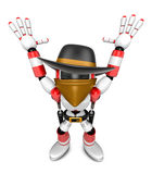 3D Red villain robot with both hands in a gesture of surrender. Stock Image