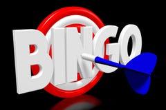 3D dartboard concept - `bingo`. 3D red and white dartboard, blue arrow, black background - `bingo` word Royalty Free Stock Images