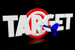 3D dartboard concept - `target`. 3D red and white dartboard, blue arrow, black background - `target` word Stock Photos