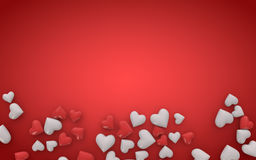3d red and white hearts on red background Stock Photography
