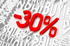 3D sale -30%. 3D red and white words on white background - `-30 Royalty Free Stock Image
