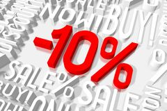 3D sale -10%. 3D red and white words on white background - `-10 Stock Photos