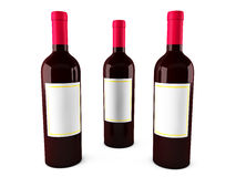 Red Wine bottle. 3d Red Wine bottle on white background Stock Photo