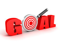 3d red word GOAL with target magnifier glass Stock Photos