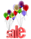 3d  red word sale. 3d word sale on multicolored balloons Royalty Free Stock Photo