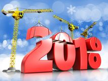 3d red 2018 year sign. 3d illustration of cranes building red 2018 year sign over snow background Stock Photography