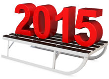 3d Red 2015 year with a sleigh. On white background Royalty Free Stock Photos