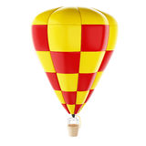 3d Red and yellow hot air ballon. 3d renderer image. Red and yellow hot air ballon. Isolated white background Stock Images