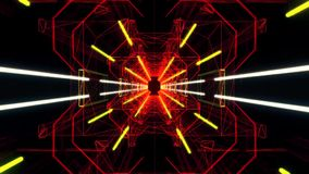 3D Red Yellow Neon Tunnel Loopable Motion Background stock video footage
