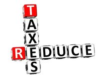 3D Reduce Taxes Crossword Stock Photography