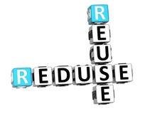 3D Reduse Reuse Crossword Royalty Free Stock Image