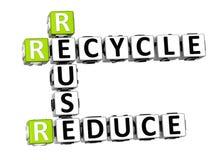 3D reduzem a reutilização reciclam palavras cruzadas Ilustração Royalty Free