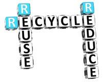 3D reduzem a reutilização reciclam palavras cruzadas Imagem de Stock Royalty Free