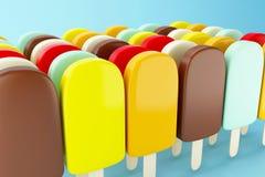 3d Reeks chocoladeijslollys die met room worden gevuld Stock Afbeelding