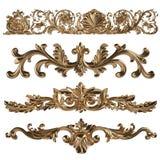 3d reeks van een oud gouden ornament op een witte achtergrond Royalty-vrije Stock Afbeeldingen