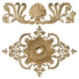 3d reeks van een oud gouden ornament op een witte achtergrond Royalty-vrije Stock Afbeelding
