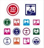 3D reeks van het drukpictogram Stock Fotografie