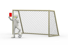3d referee with gate whistle showing red card Royalty Free Stock Image