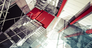 3d reflection. Modern industrial interior, stairs, clean space i Royalty Free Stock Photo