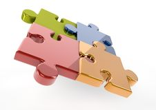 3D Reflective puzzle pieces Stock Image
