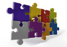 3D Reflective puzzle pieces Stock Images