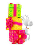 3d reindeer with big gift box Royalty Free Stock Photos
