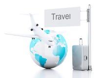 3d reiskoffer, vliegtuig en wereldbol reis concept Royalty-vrije Stock Afbeelding