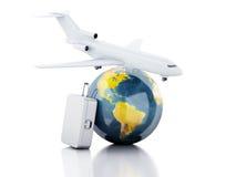 3d reiskoffer, vliegtuig en wereldbol reis concept Stock Foto's